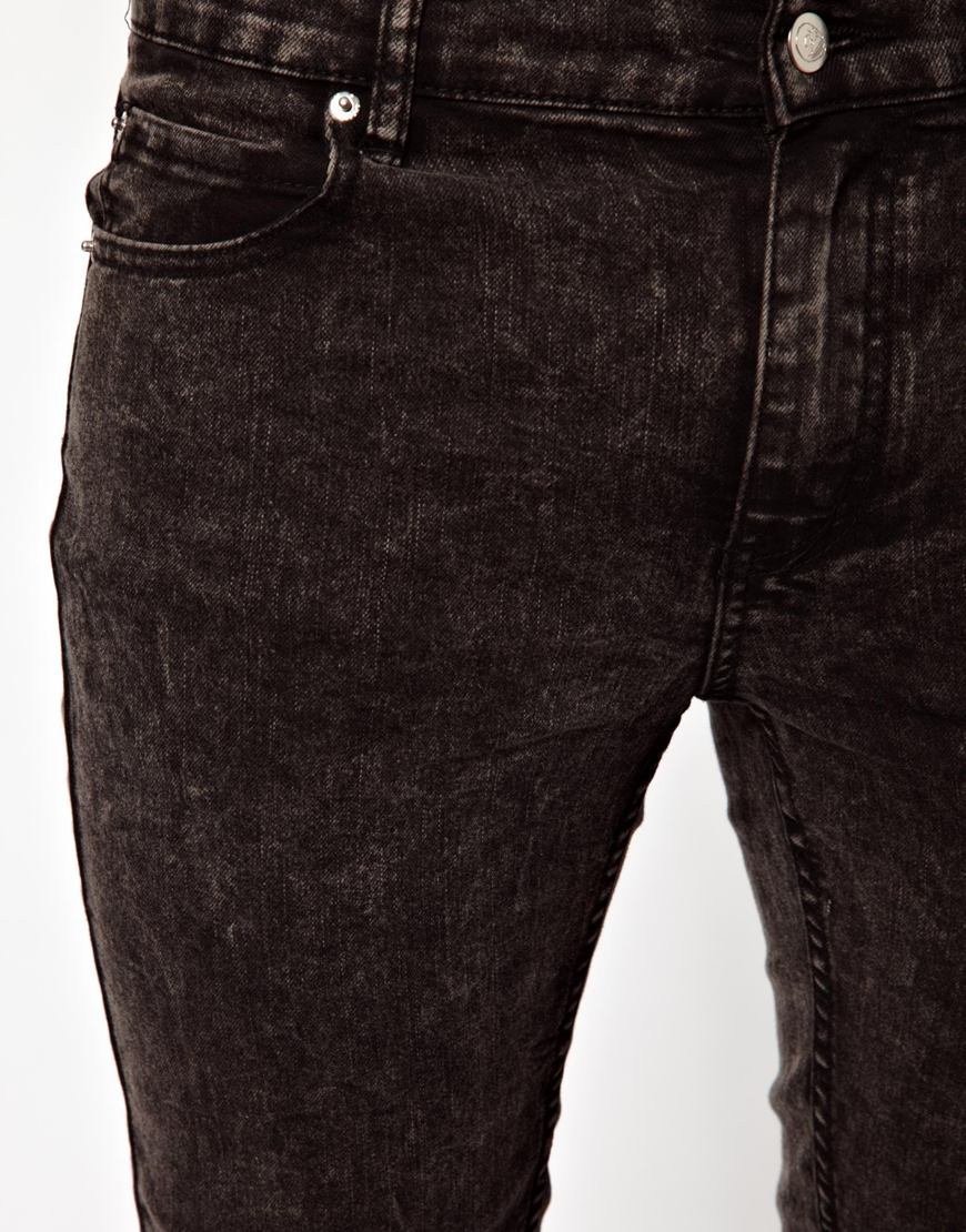 lyst cheap monday jeans tight skinny fit in washed black. Black Bedroom Furniture Sets. Home Design Ideas