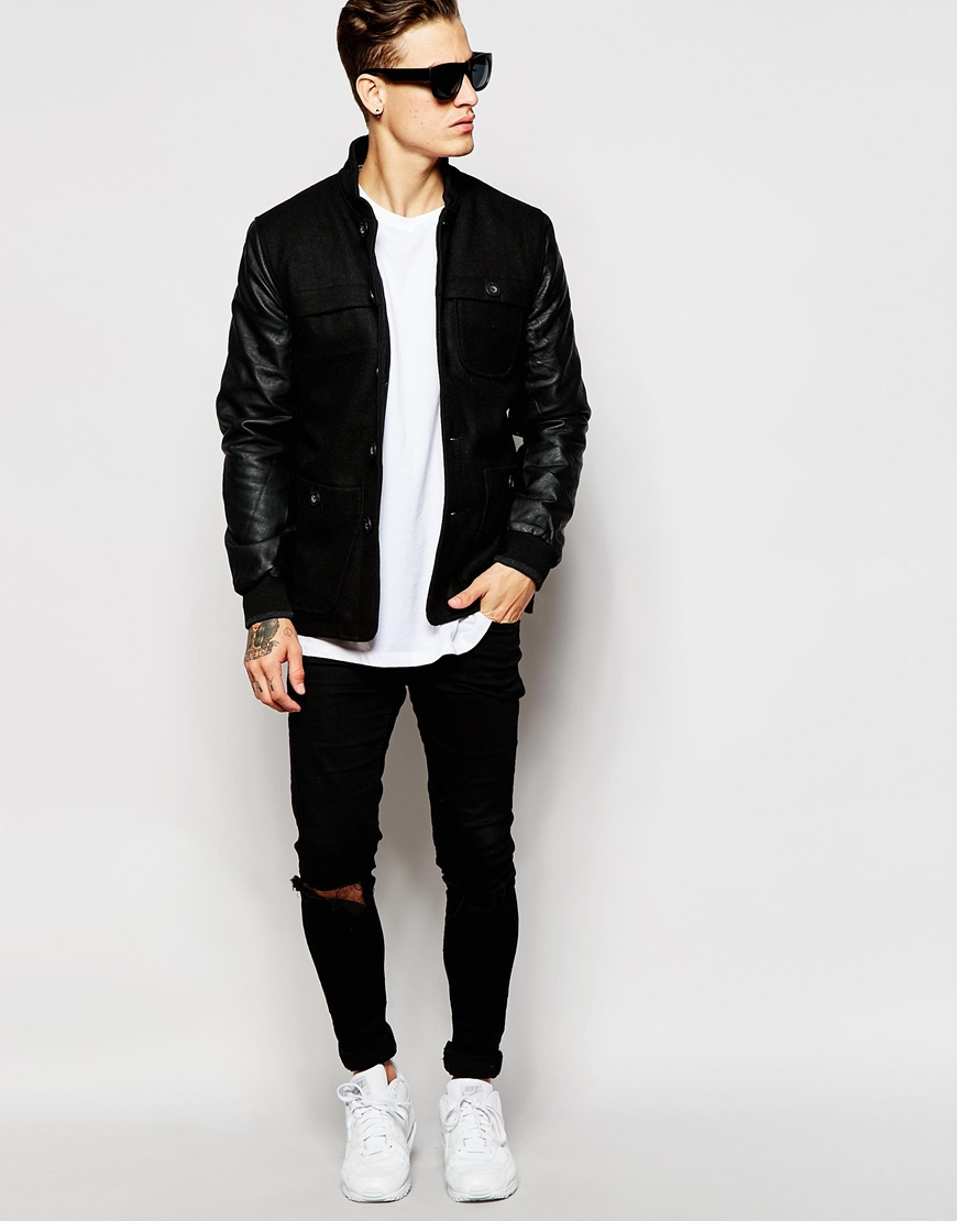 Bellfield Faux Leather Sleeve Bomber Jacket in Black for Men | Lyst