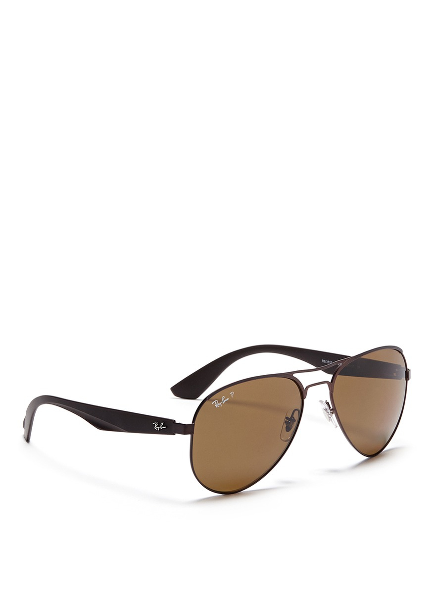 Lyst - Ray-Ban Titanium Frame Plastic Temple Aviator Sunglasses in ...