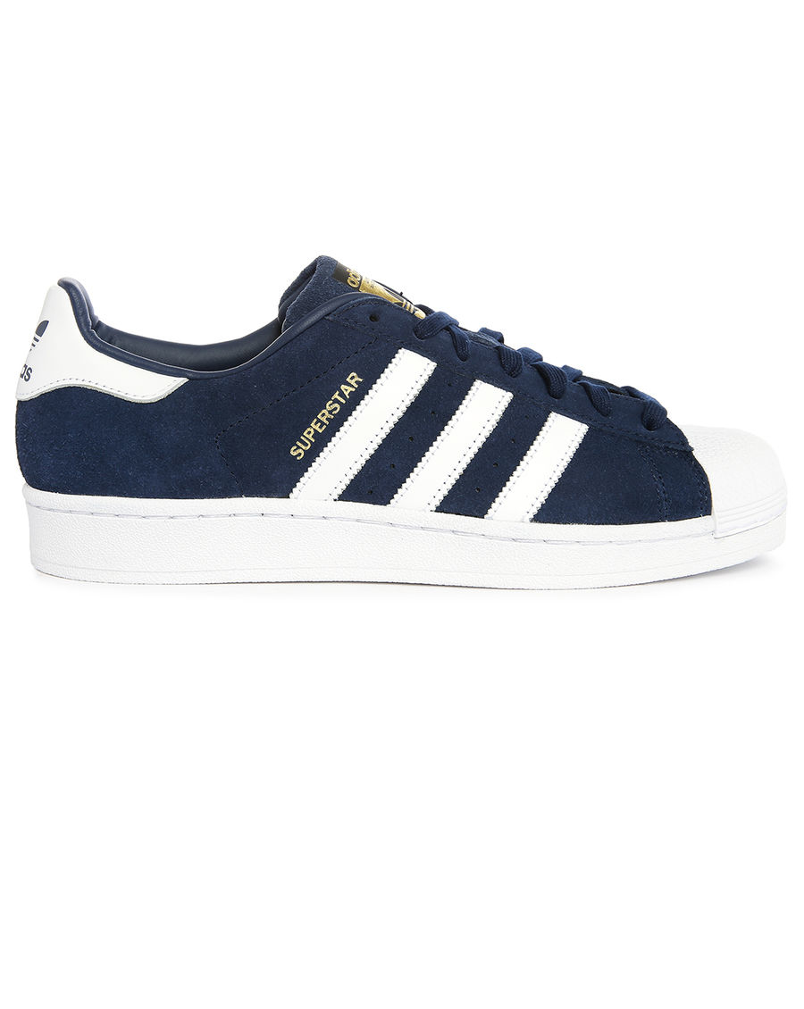 adidas originals superstar navy white suede trainers in blue for men lyst. Black Bedroom Furniture Sets. Home Design Ideas