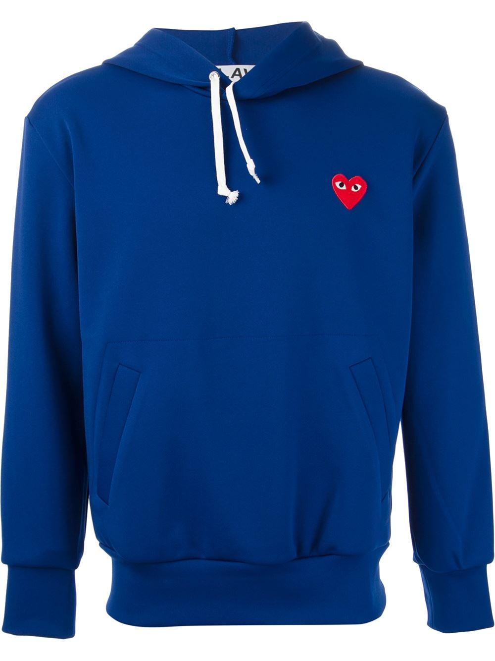 comme des gar ons heart logo hoodie in blue for men lyst. Black Bedroom Furniture Sets. Home Design Ideas