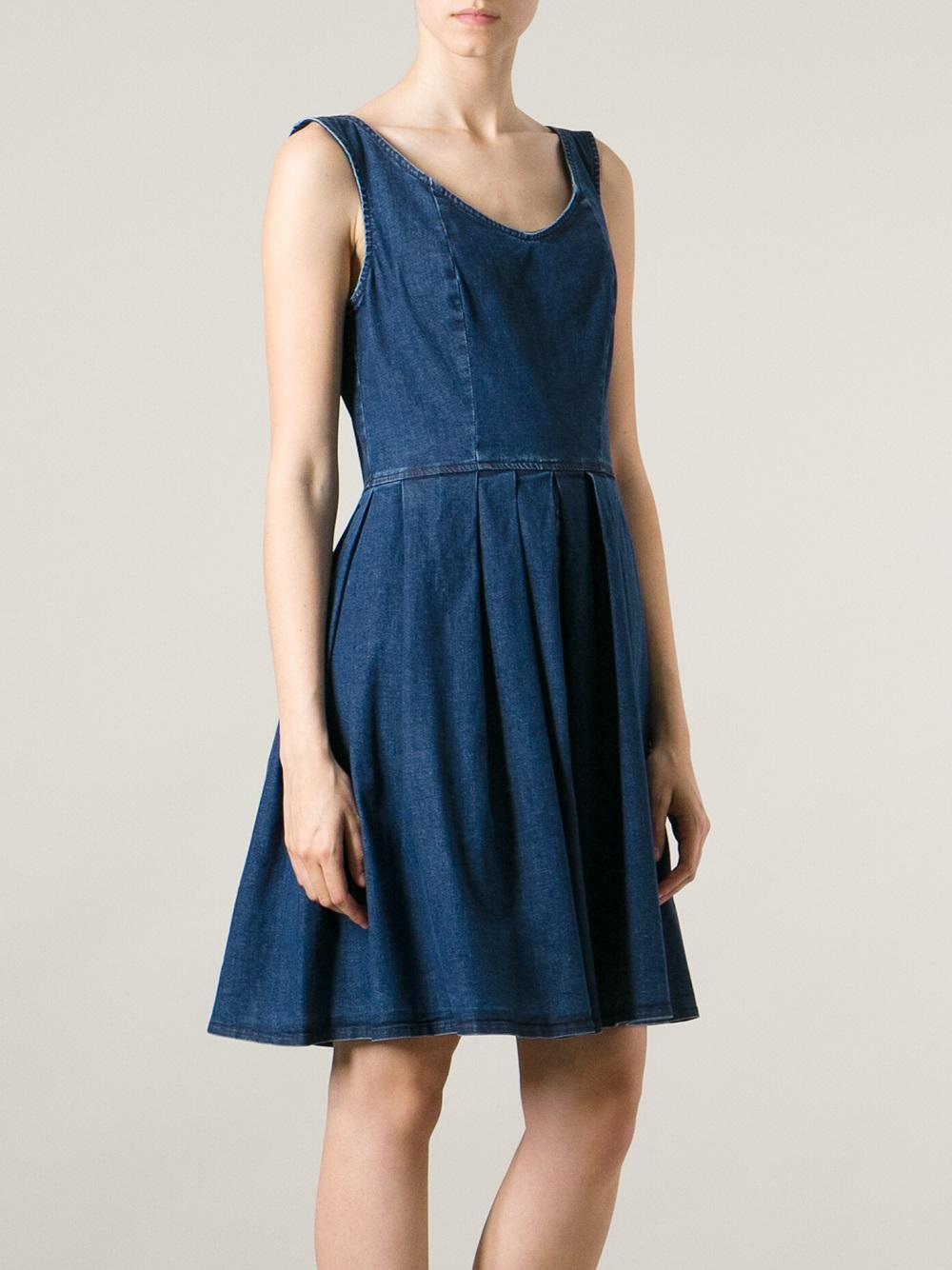 17f32e0d2b1 Pinko pleated denim dress in blue lyst jpg 1000x1334 Pleated denim dress