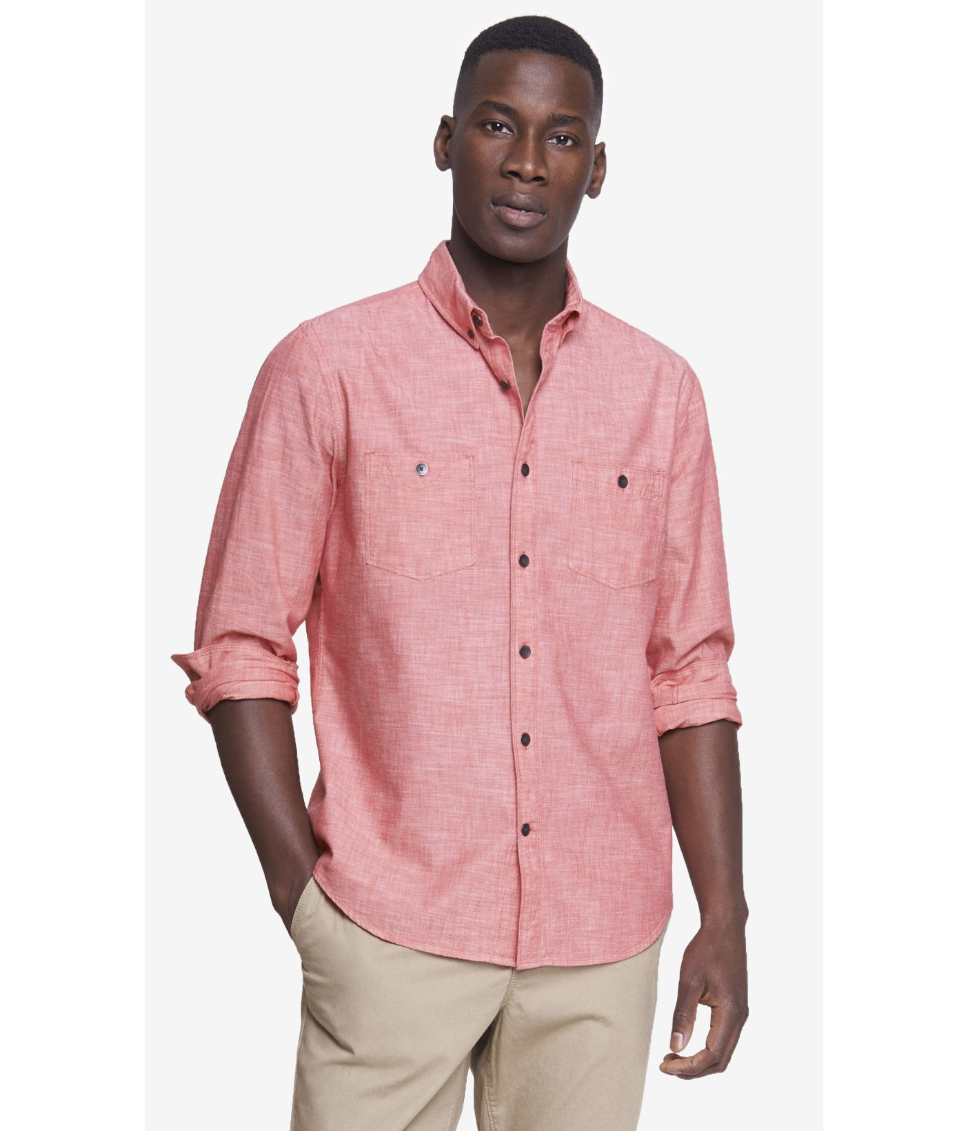 Lyst - Express Slub Chambray Button-Down Collar Shirt in Pink for Men