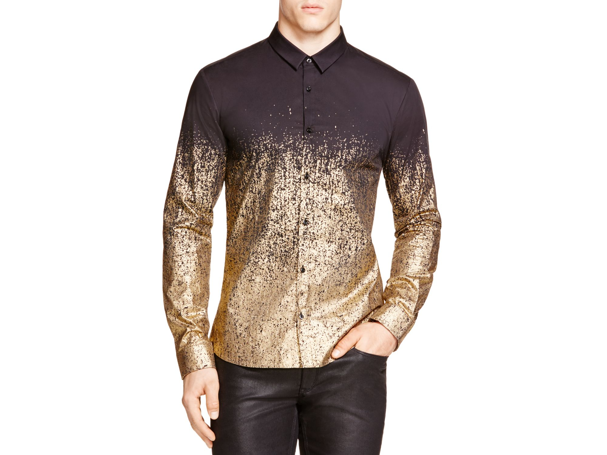 dea33a8c92b Black And Gold Button Down Shirt - Shirt N Pants