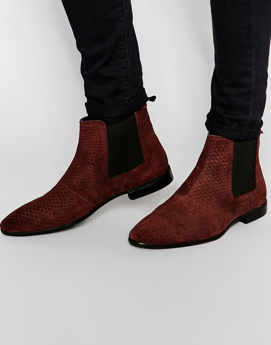 lyst asos chelsea boots in burgundy suede with snakeskin. Black Bedroom Furniture Sets. Home Design Ideas
