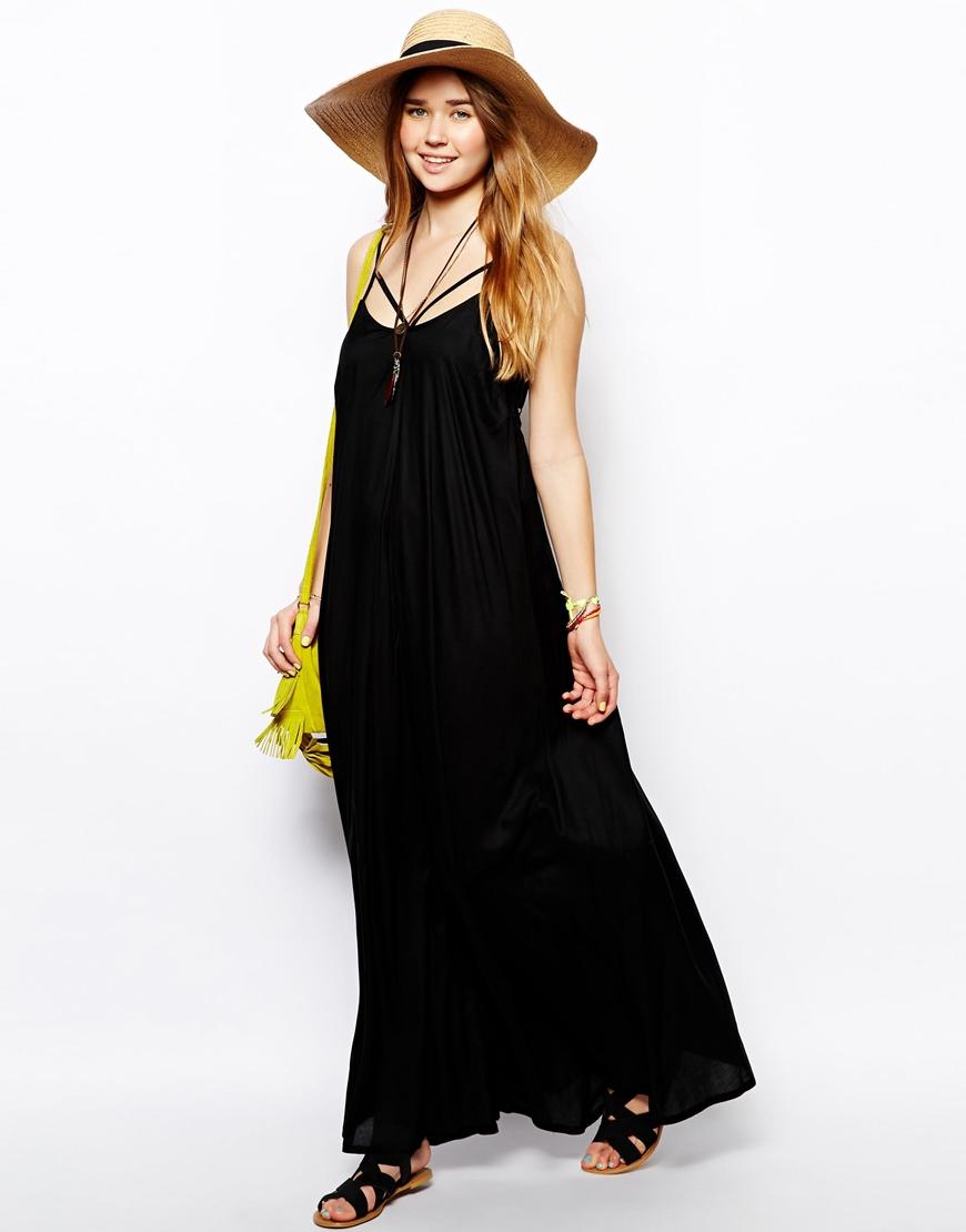 Asos Trapeze Maxi Beach Dress In Black Lyst