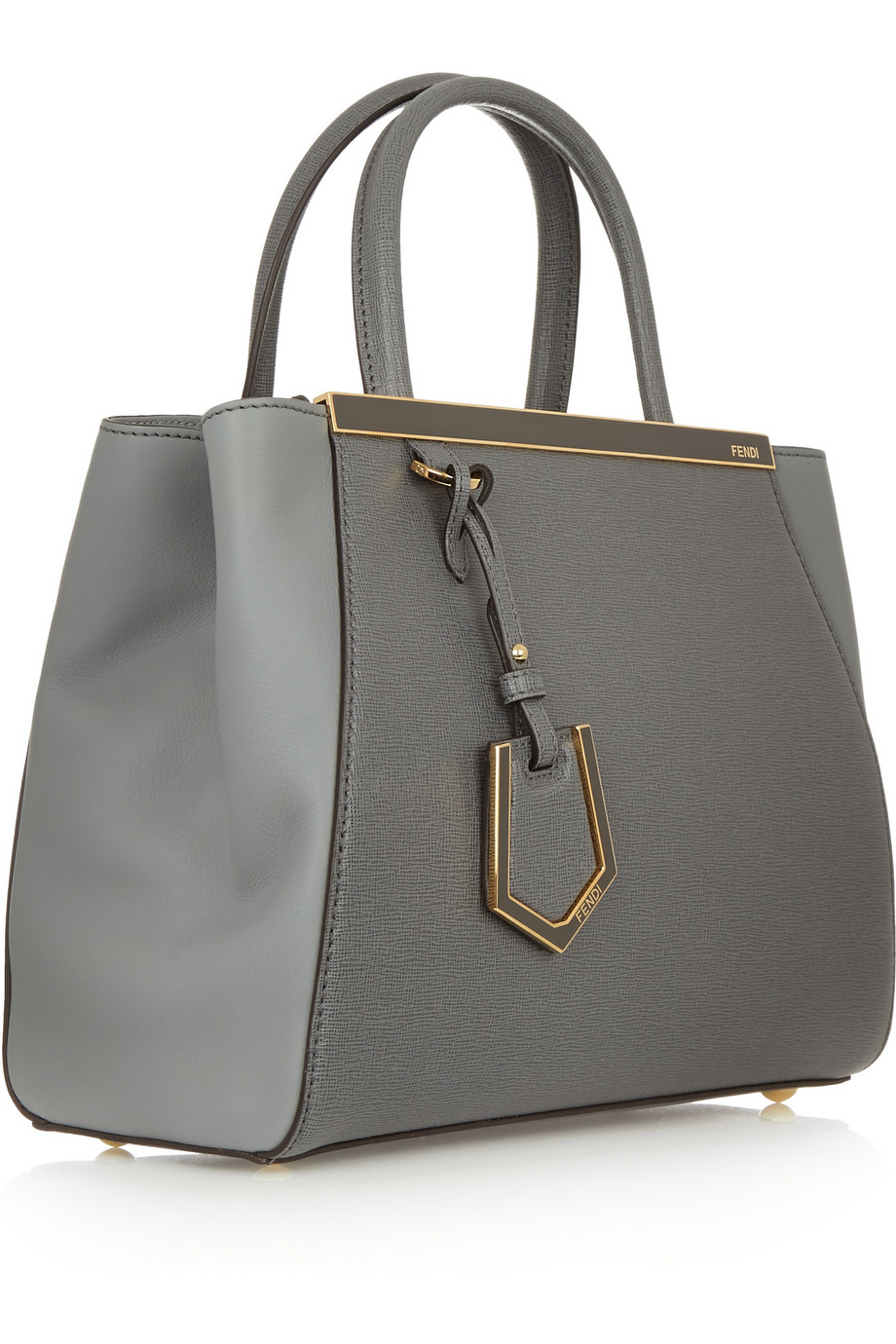 15510b3a9128 Fendi 2jours Small Textured-leather Shopper in Gray - Lyst