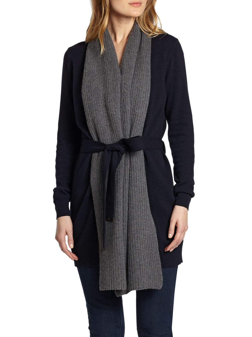 burch gwen scarf detail cardigan in blue lyst