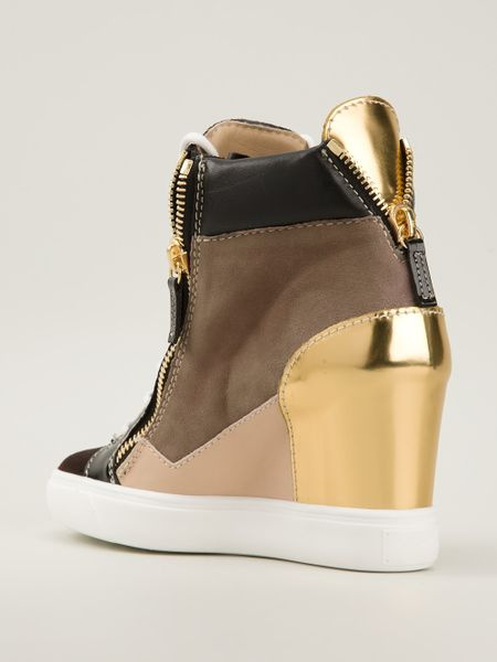 Giuseppe Zanotti Panelled Wedge Sneakers in Multicolor ...
