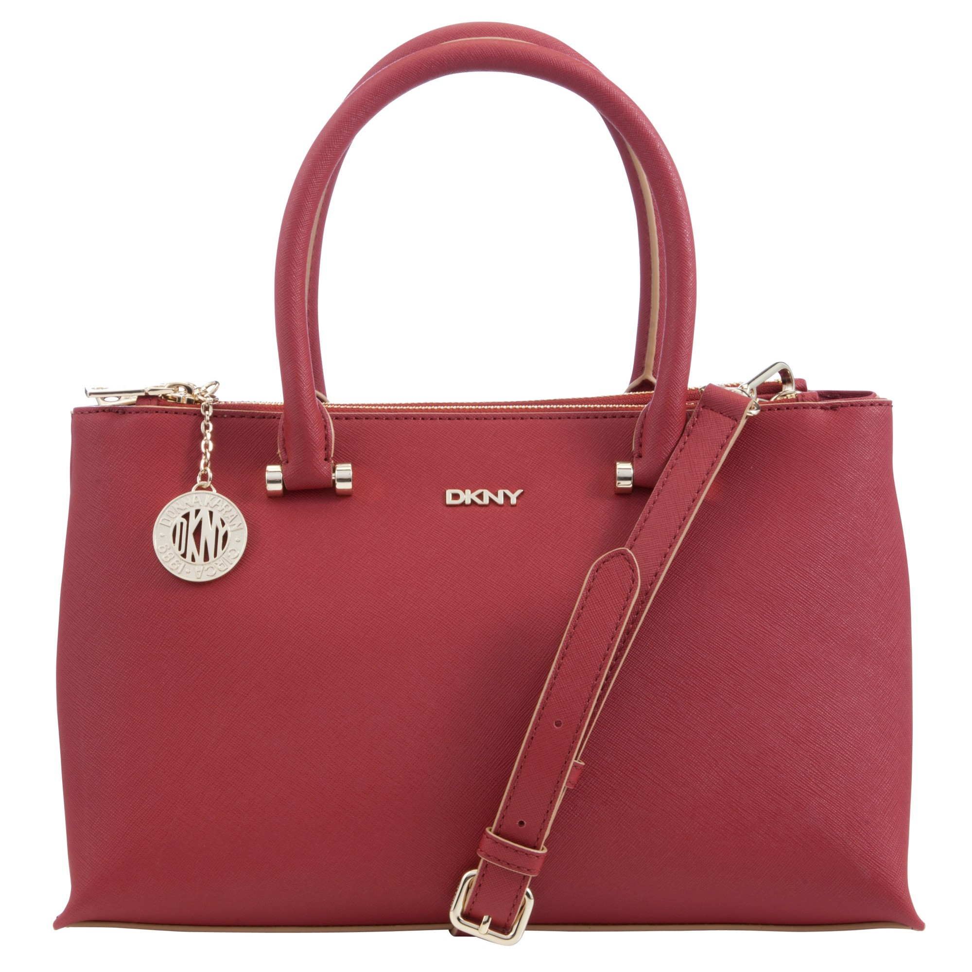 38016d4b649 DKNY Saffiano Leather Medium Zip Top Shopper Bag in Red - Lyst