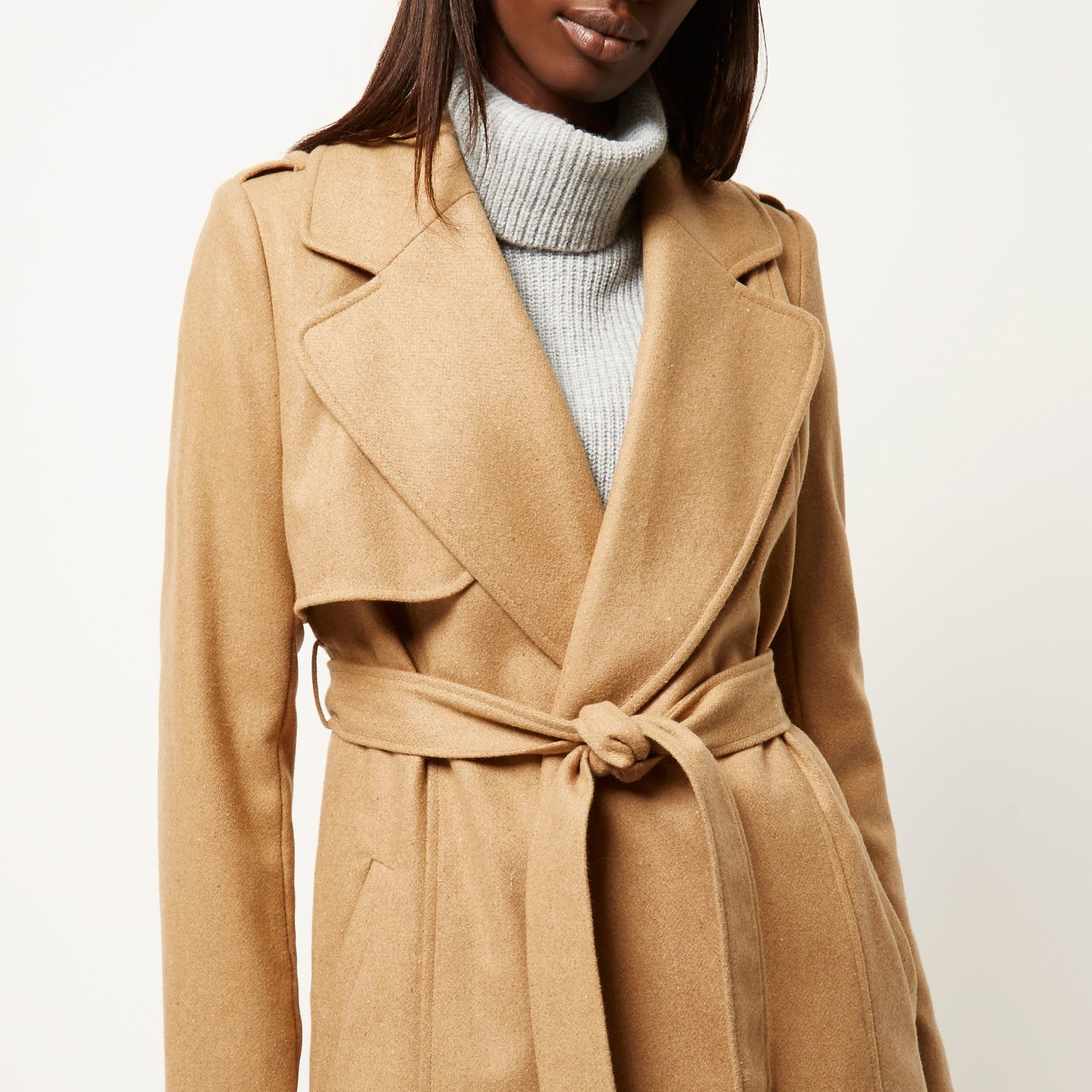 River island Camel Wool-blend Longline Trench Coat in Natural | Lyst