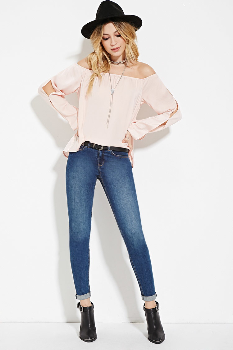 Lyst Forever 21 Satin Off The Shoulder Top In Pink