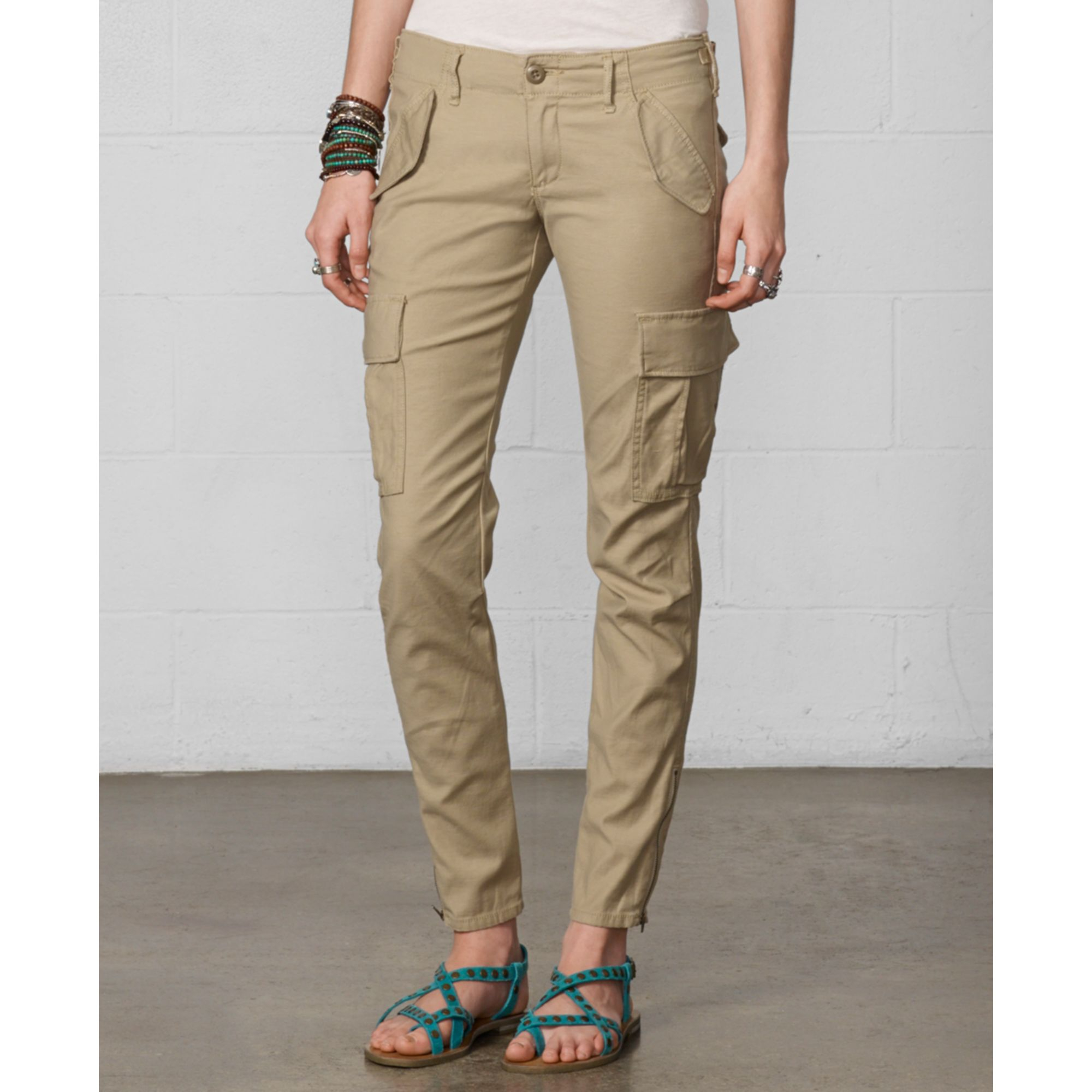 Denim & supply ralph lauren Skinny Cargo Pants in Natural | Lyst