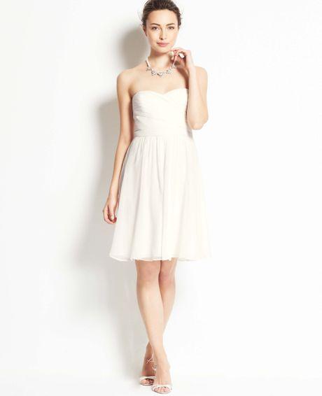 Ann taylor silk georgette strapless dress in white bridal for Silk georgette wedding dress