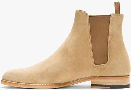 Saint Laurent Tan Suede Chelsea Boots In Khaki For Men