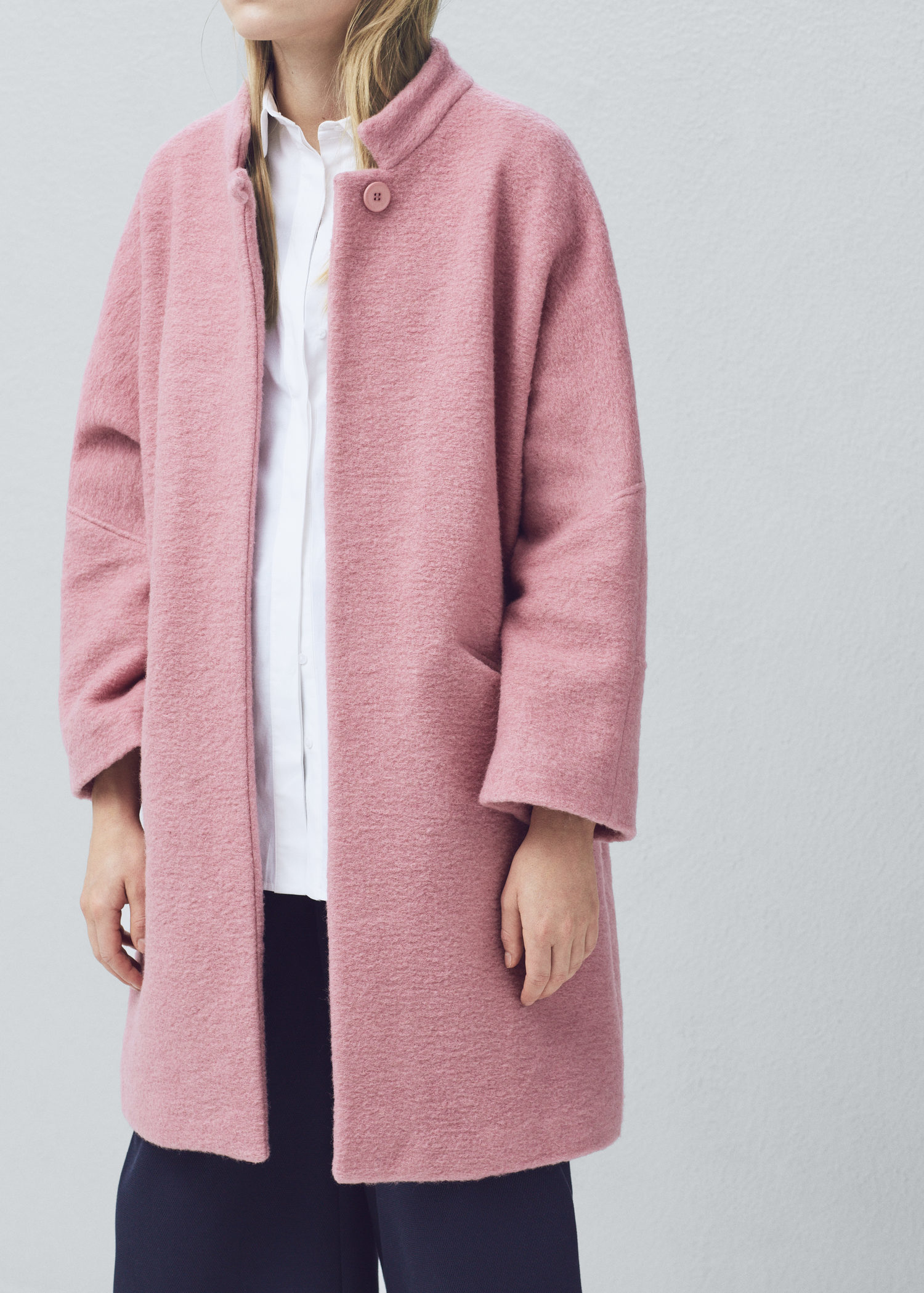 Mango Oversize Wool Coat in Pink | Lyst
