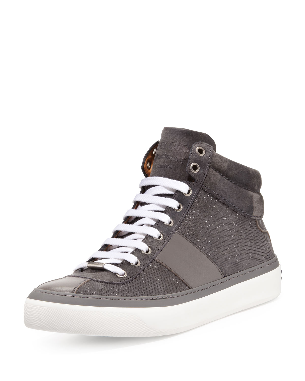252a91f6ae4f Lyst - Jimmy Choo Belgravia Glitter-suede Hi-top Sneaker in Gray for Men