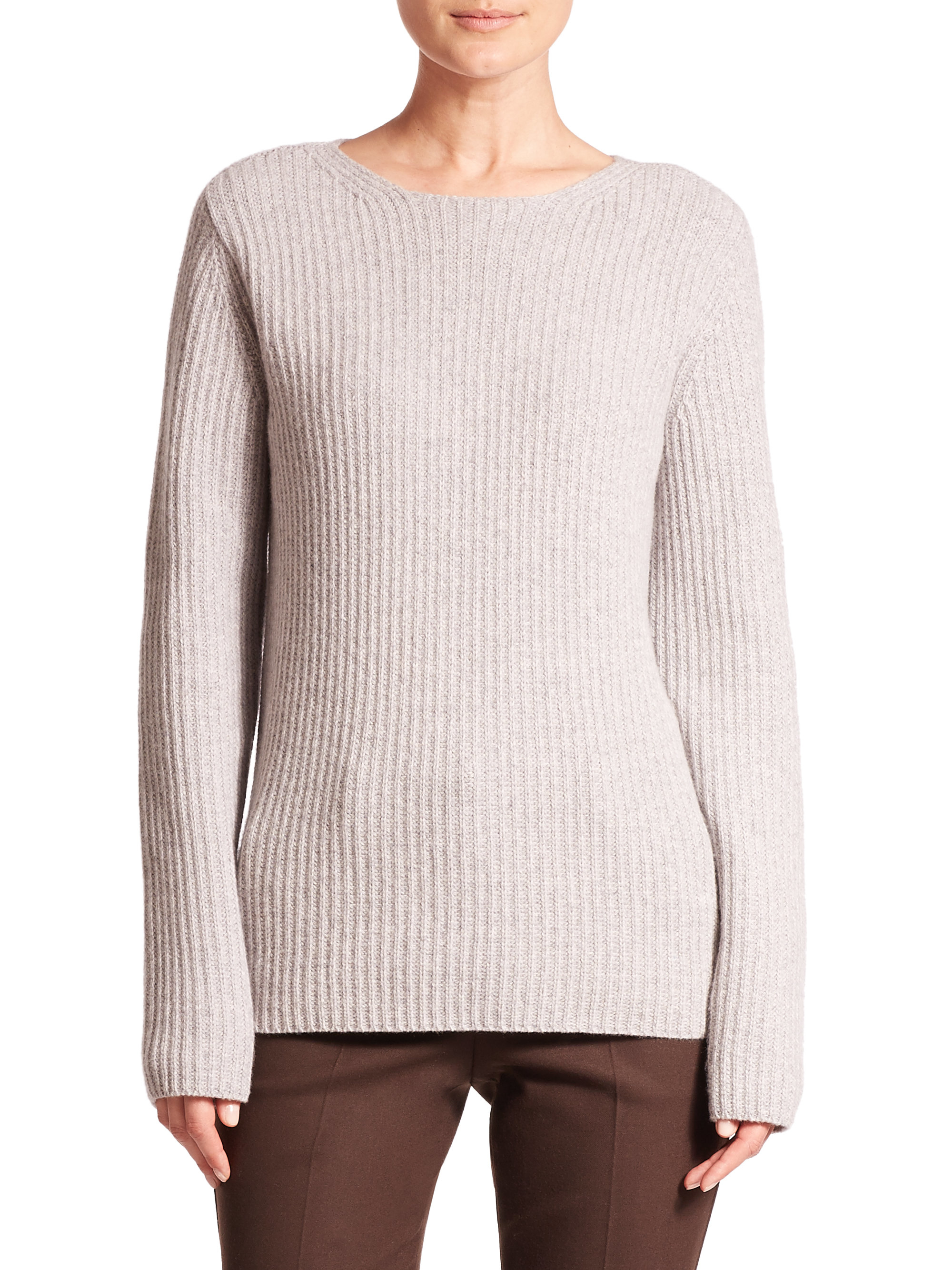 Theory Arminay Ribbed Wool & Cashmere Crewneck Sweater in Gray | Lyst