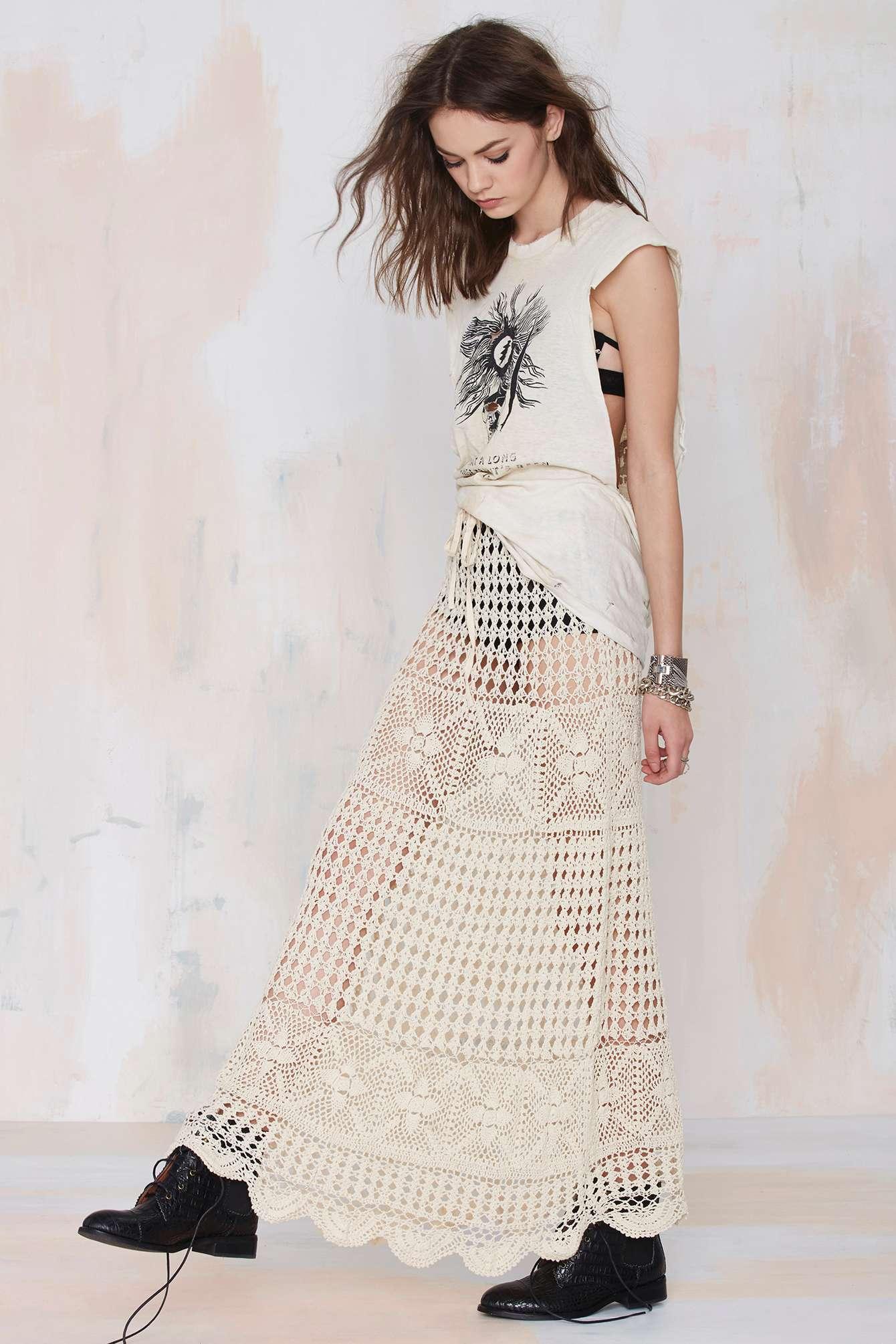 Nasty Gal Vintage Deva Crochet Knit Skirt In Natural Lyst