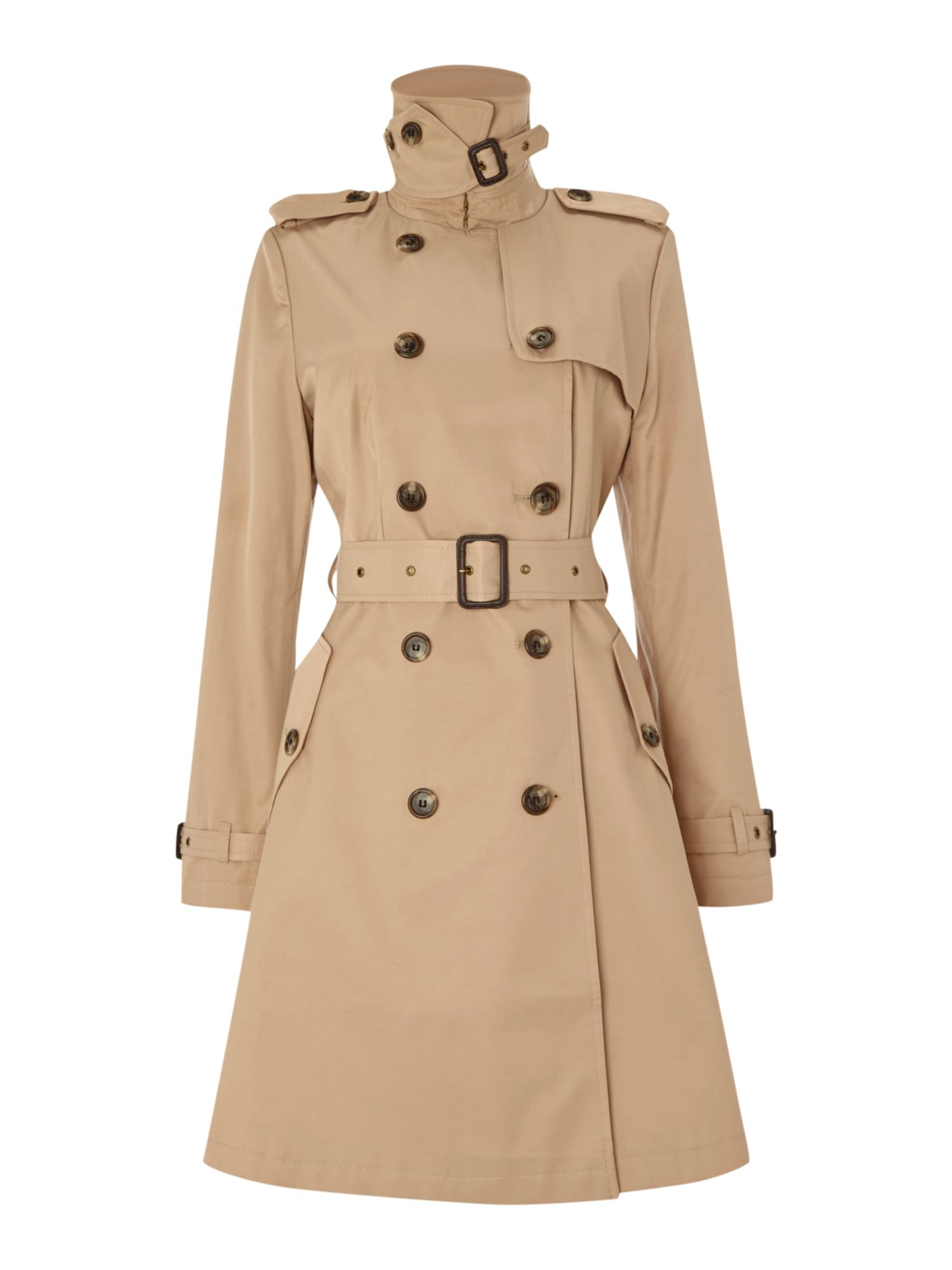 Waterproof Duffle Bags >> Lyst - Lauren By Ralph Lauren Skirted Trench Coat in Natural