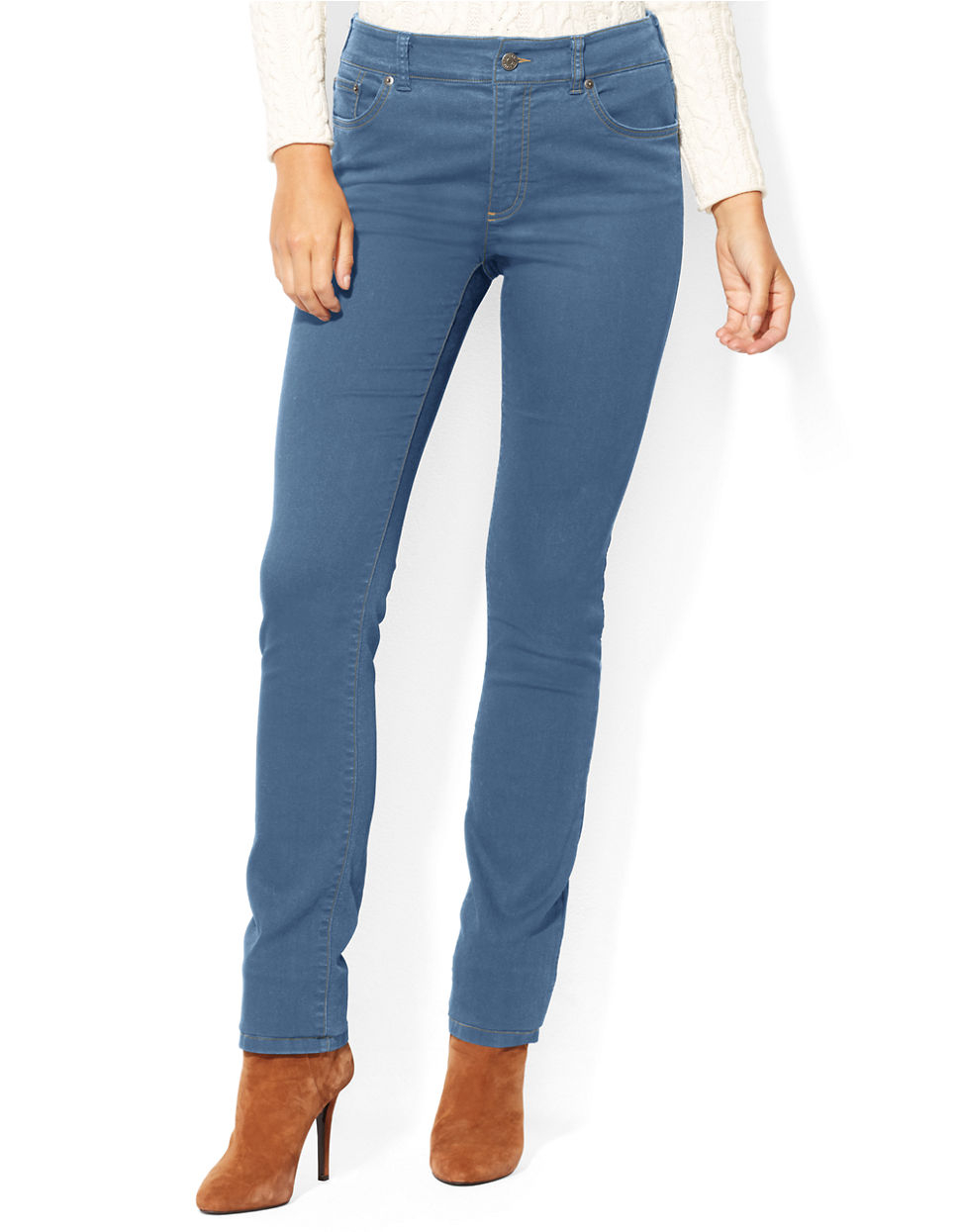 lauren by ralph lauren petite heritage straight leg jeans in blue lyst. Black Bedroom Furniture Sets. Home Design Ideas