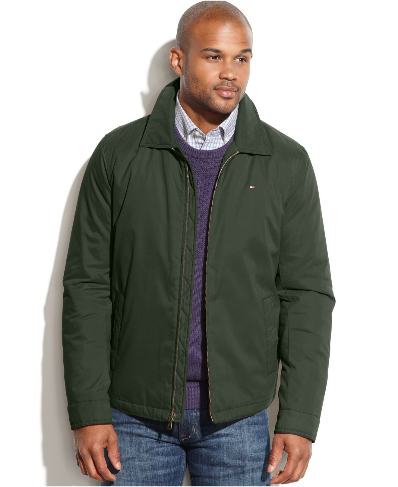 tommy hilfiger full zip microtwill jacket in green for men lyst. Black Bedroom Furniture Sets. Home Design Ideas