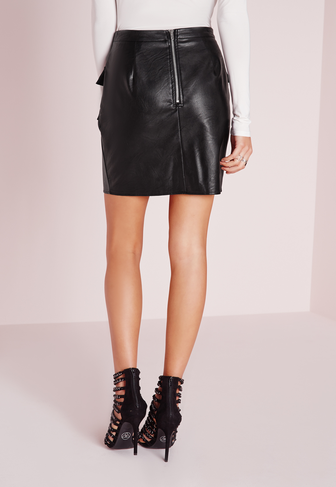 missguided pocket detail faux leather mini skirt black in