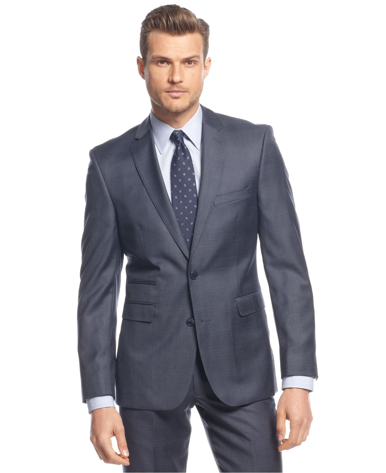Vince camuto Mid-Blue Subtle Plaid Slim-Fit Suit in Blue for Men