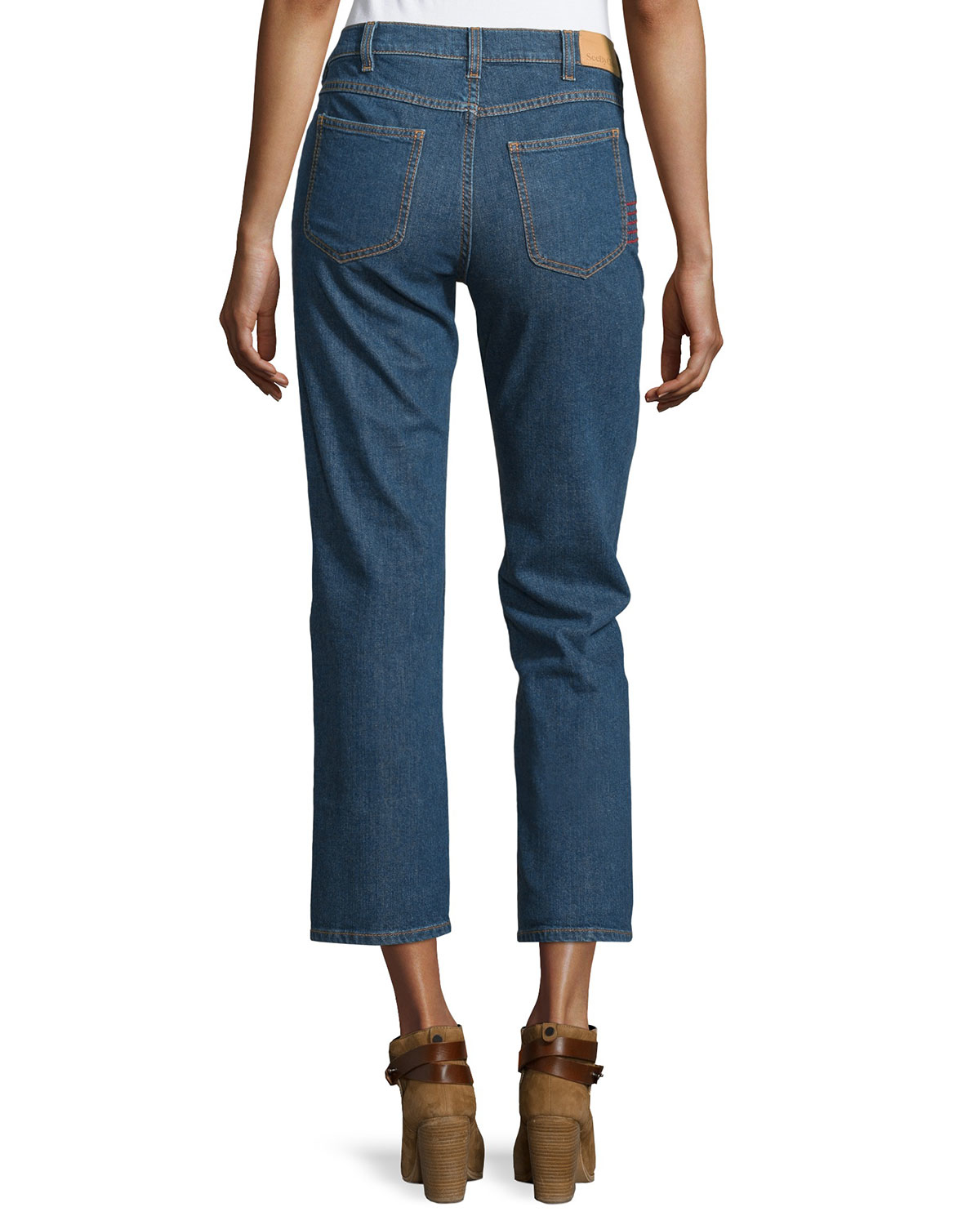 See by chloé embroidered straight leg cropped jeans in