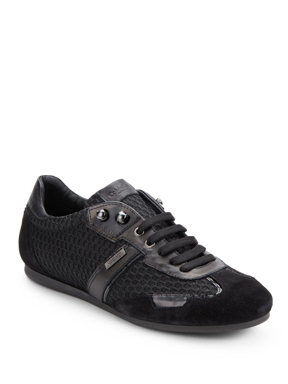 Lyst Calvin Klein Mixedmedia Laceup Sneakers In Black