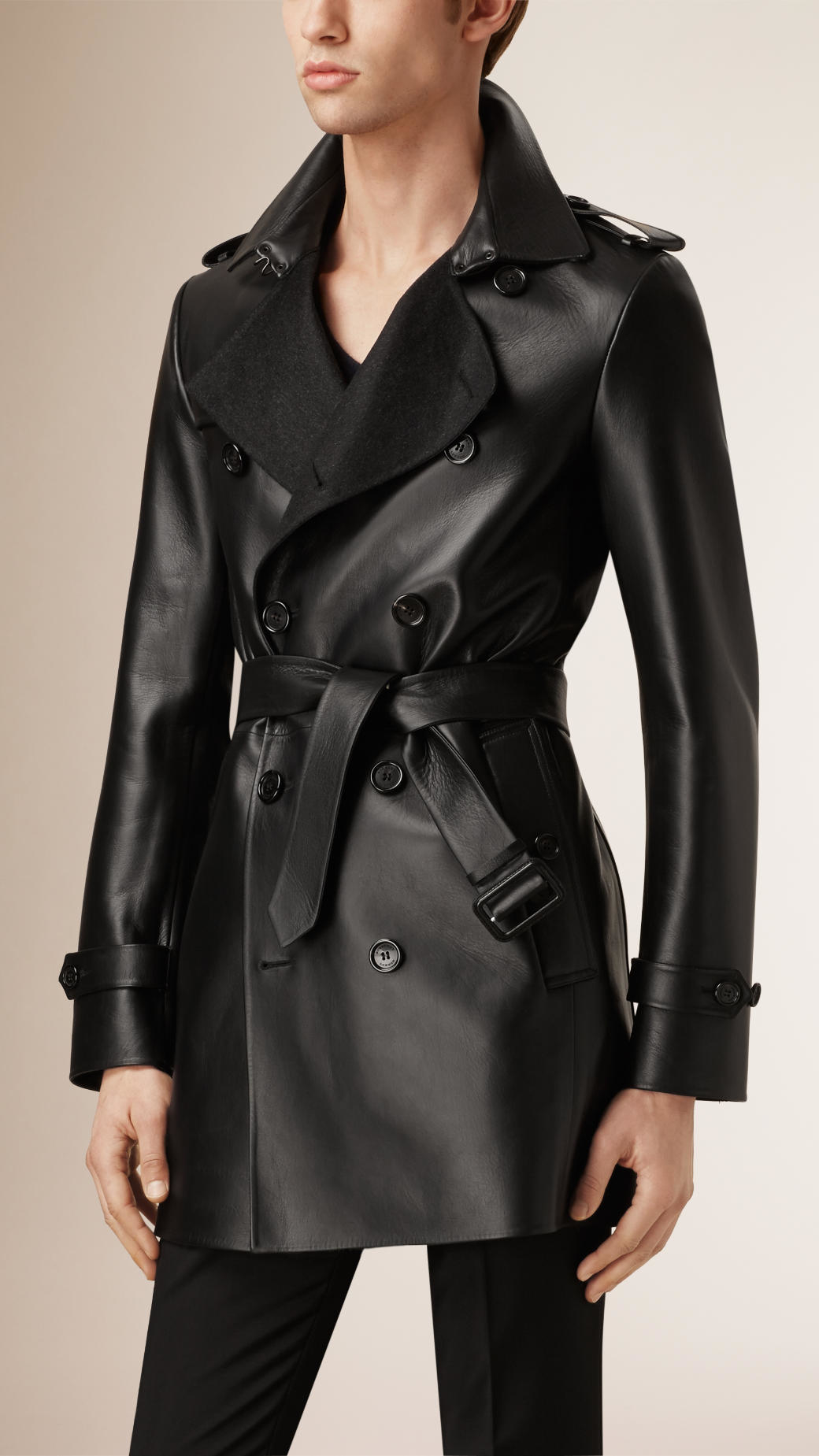 modern and elegant in fashion special section arrives Burberry Cashmere-bonded Leather Trench Coat in Black for ...