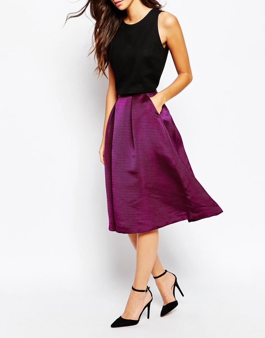 ted baker zelida high waisted midi skirt in purple lyst