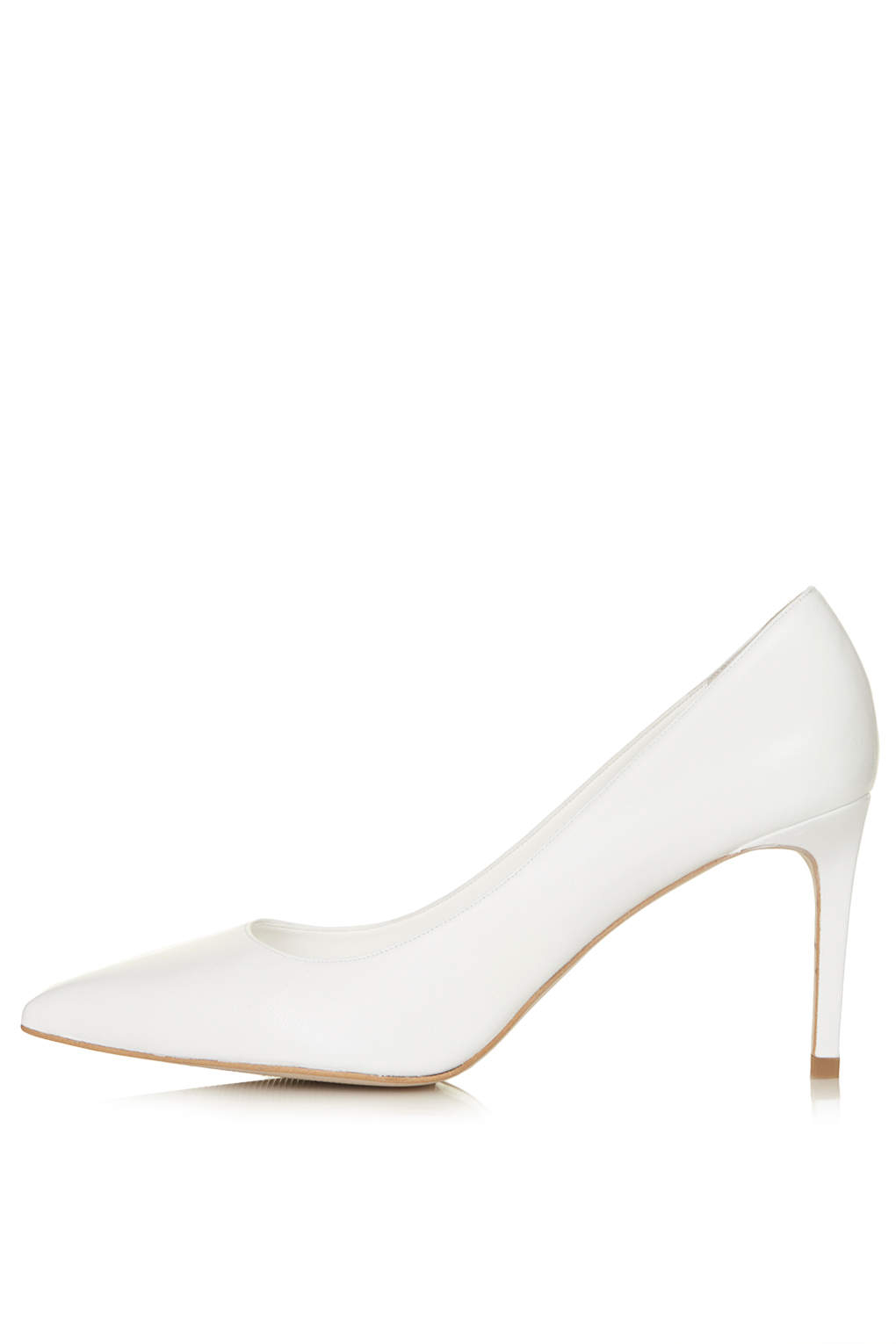 Lyst - Topshop Golden Mid Heel Court Shoes in White