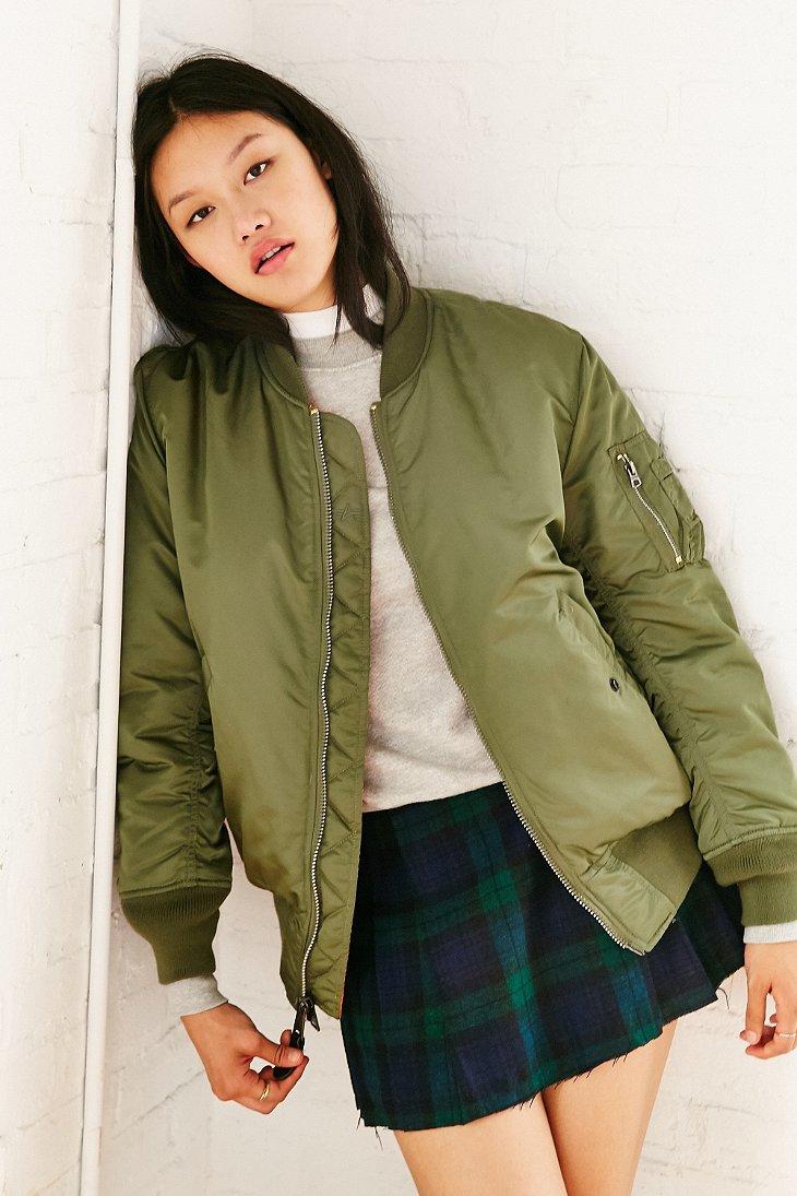 alpha industries ma 1 bomber jacket in green olive lyst. Black Bedroom Furniture Sets. Home Design Ideas