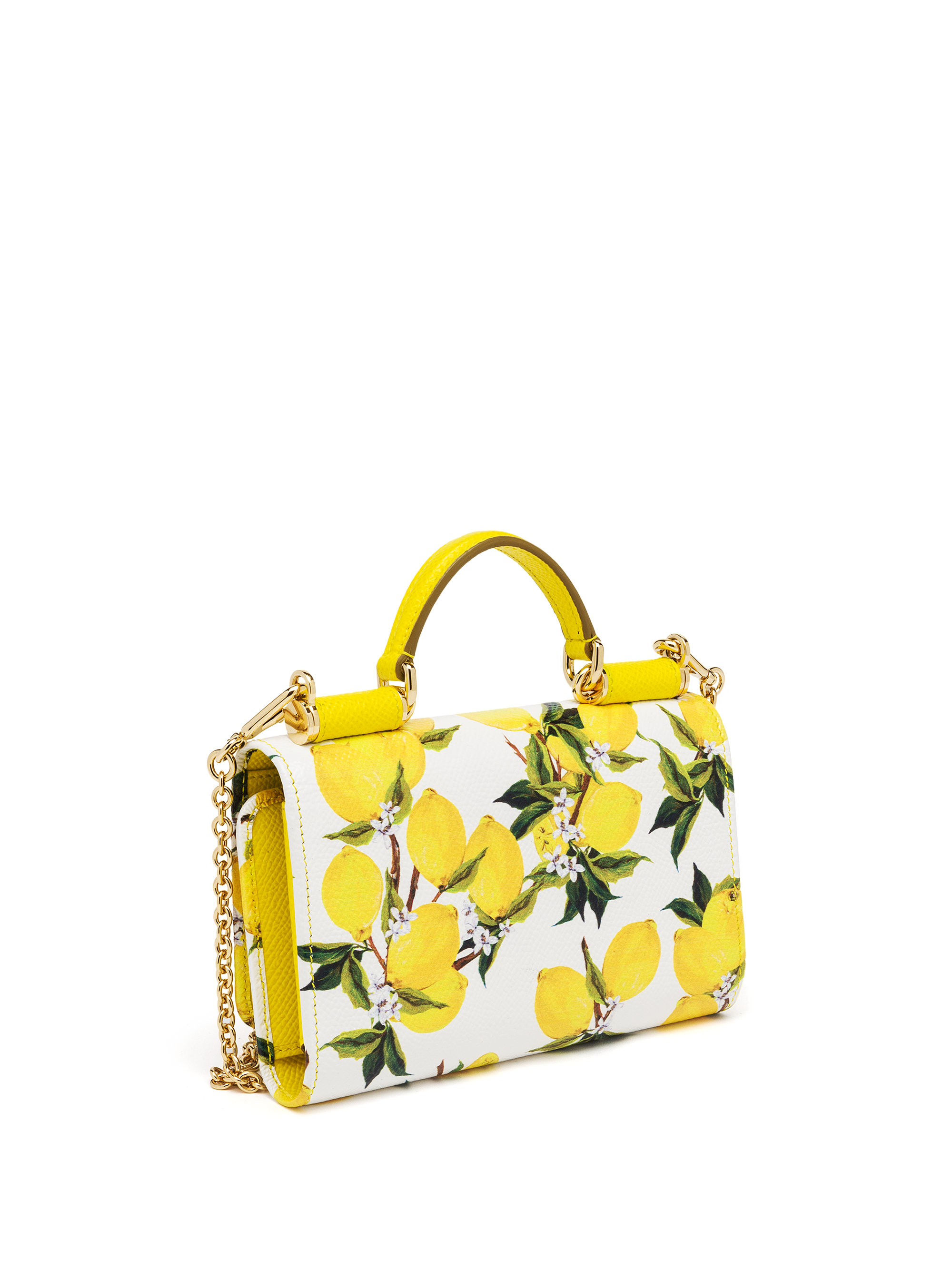 45b8ea3101 Lyst - Dolce   Gabbana Lemon-print Textured Leather Smartphone Chain ...