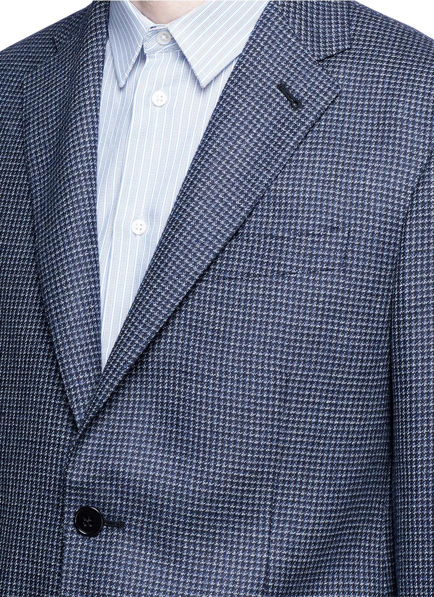 Armani 'sartorial Deco' Micro Houndstooth Plaid Blazer in Blue for ...