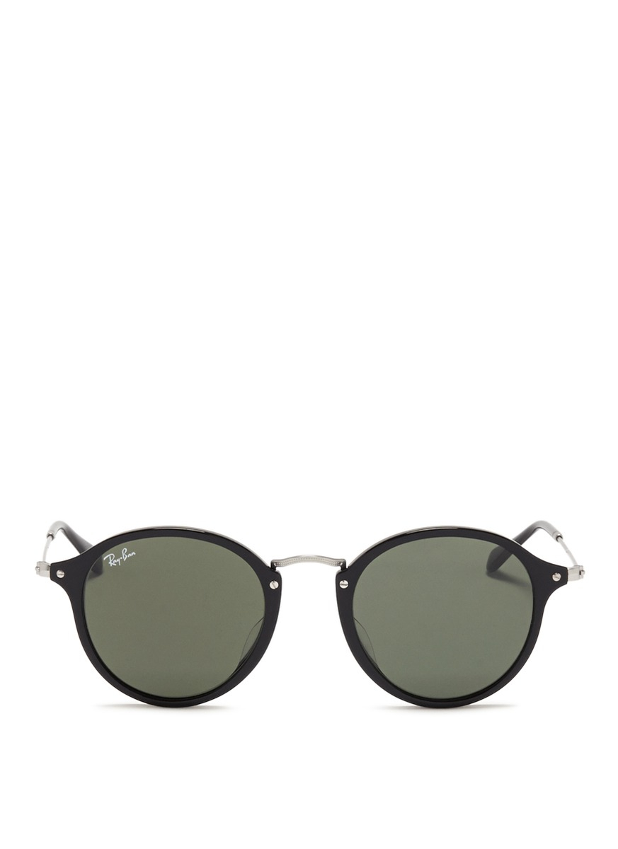 Ray Ban Round Frame Sunglasses : Ray-ban Acetate Wire Temple Round Frame Sunglasses in ...