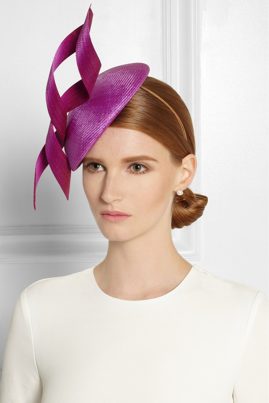 Philip treacy Buntal Scroll-Embellished Parasisal Hat in ...