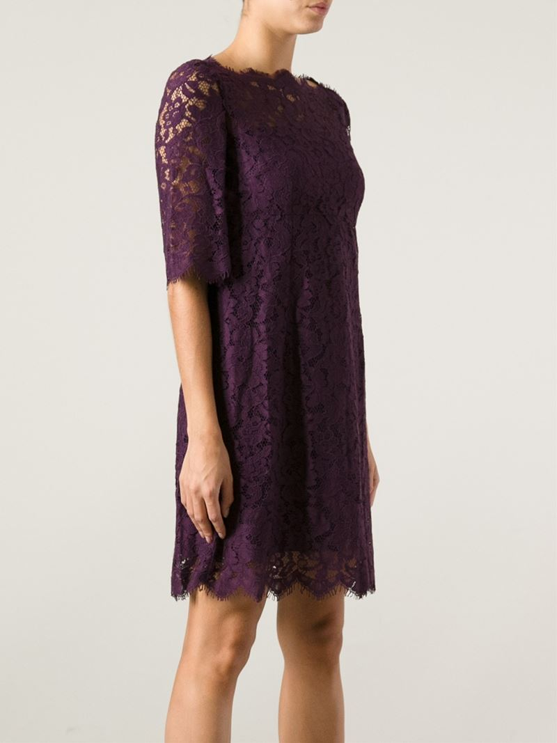 Lyst Dolce Amp Gabbana Lace Dress In Purple