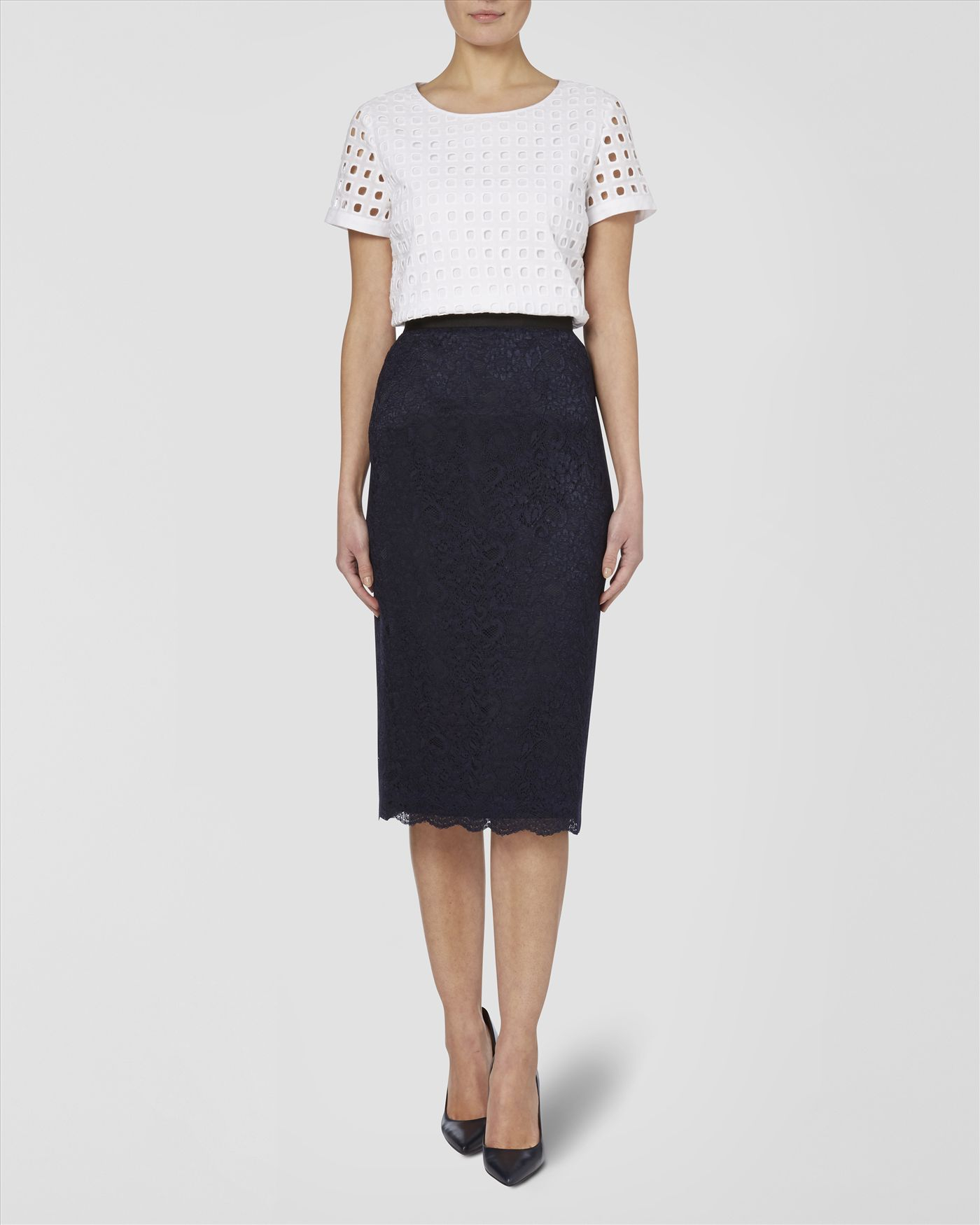jaeger lace pencil skirt in blue lyst