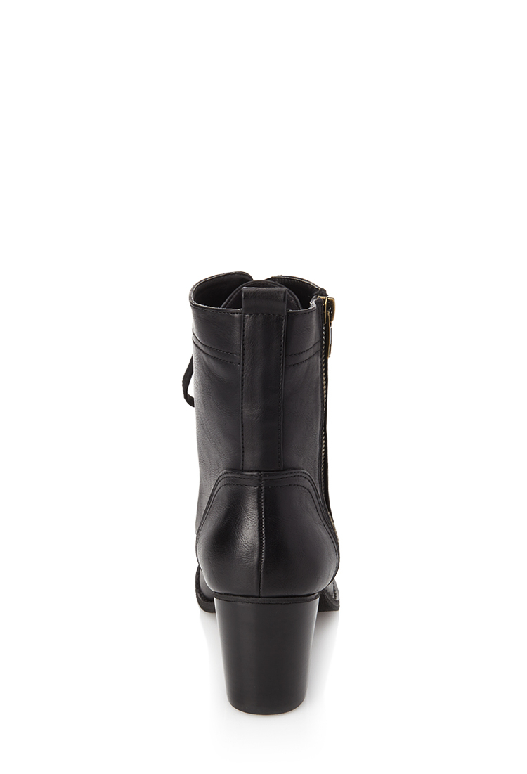 forever 21 laceup combat boots in black lyst