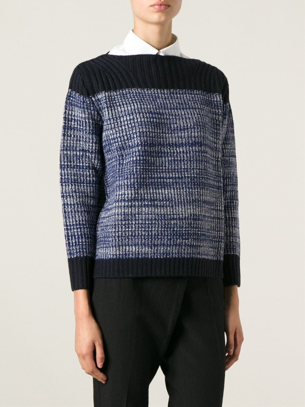 marc by marc jacobs two tone sweater in blue lyst. Black Bedroom Furniture Sets. Home Design Ideas