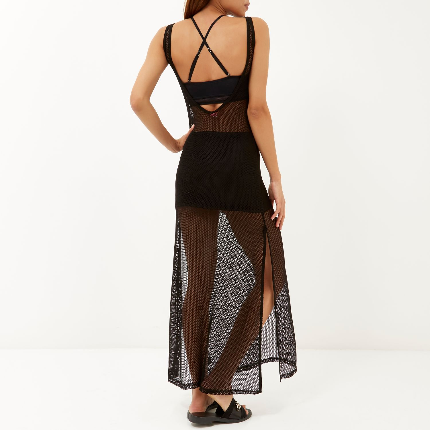 River island maxi dress with metal necklace