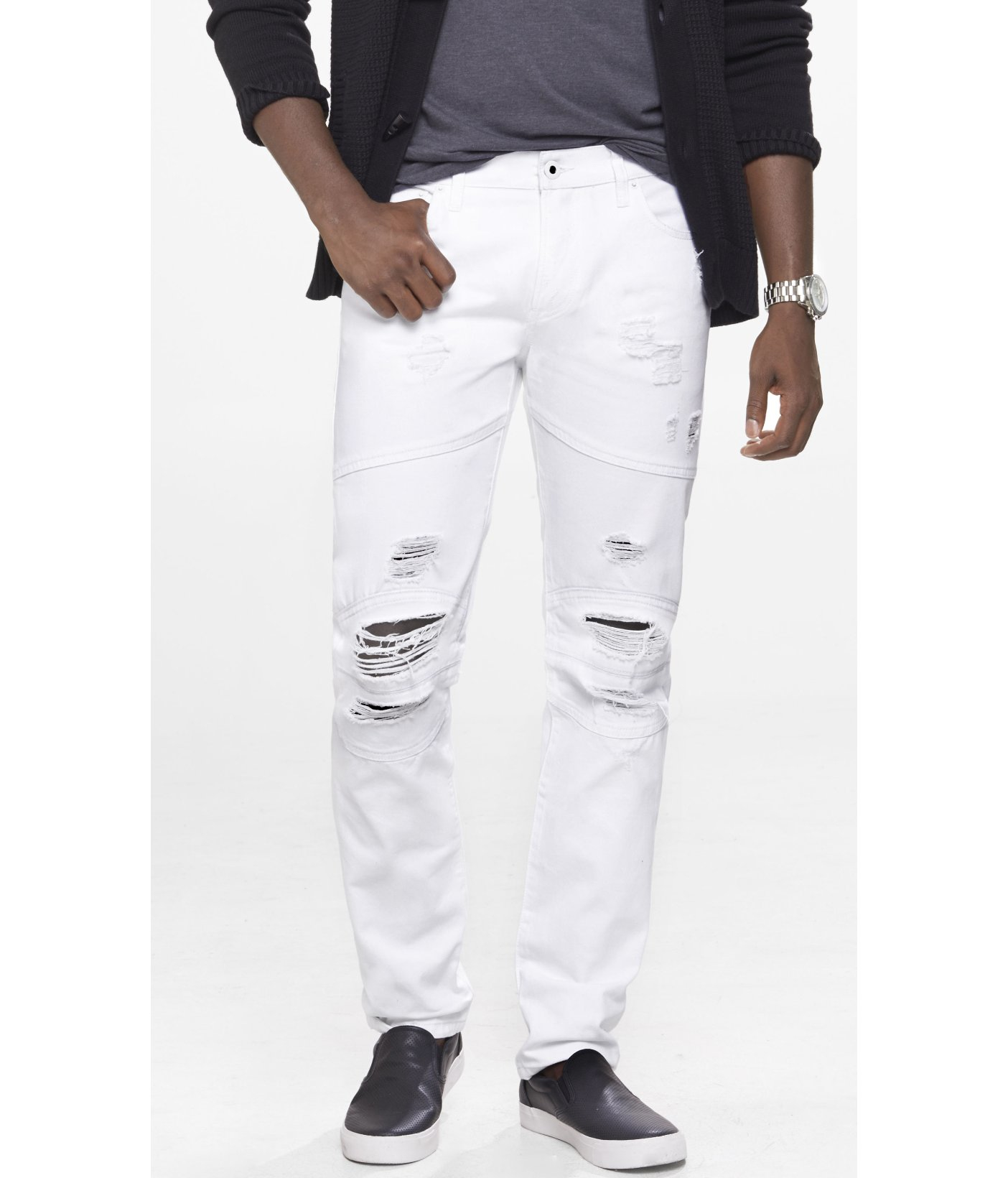Express White Destroyed Rocco Slim Fit Moto Jean in White for Men