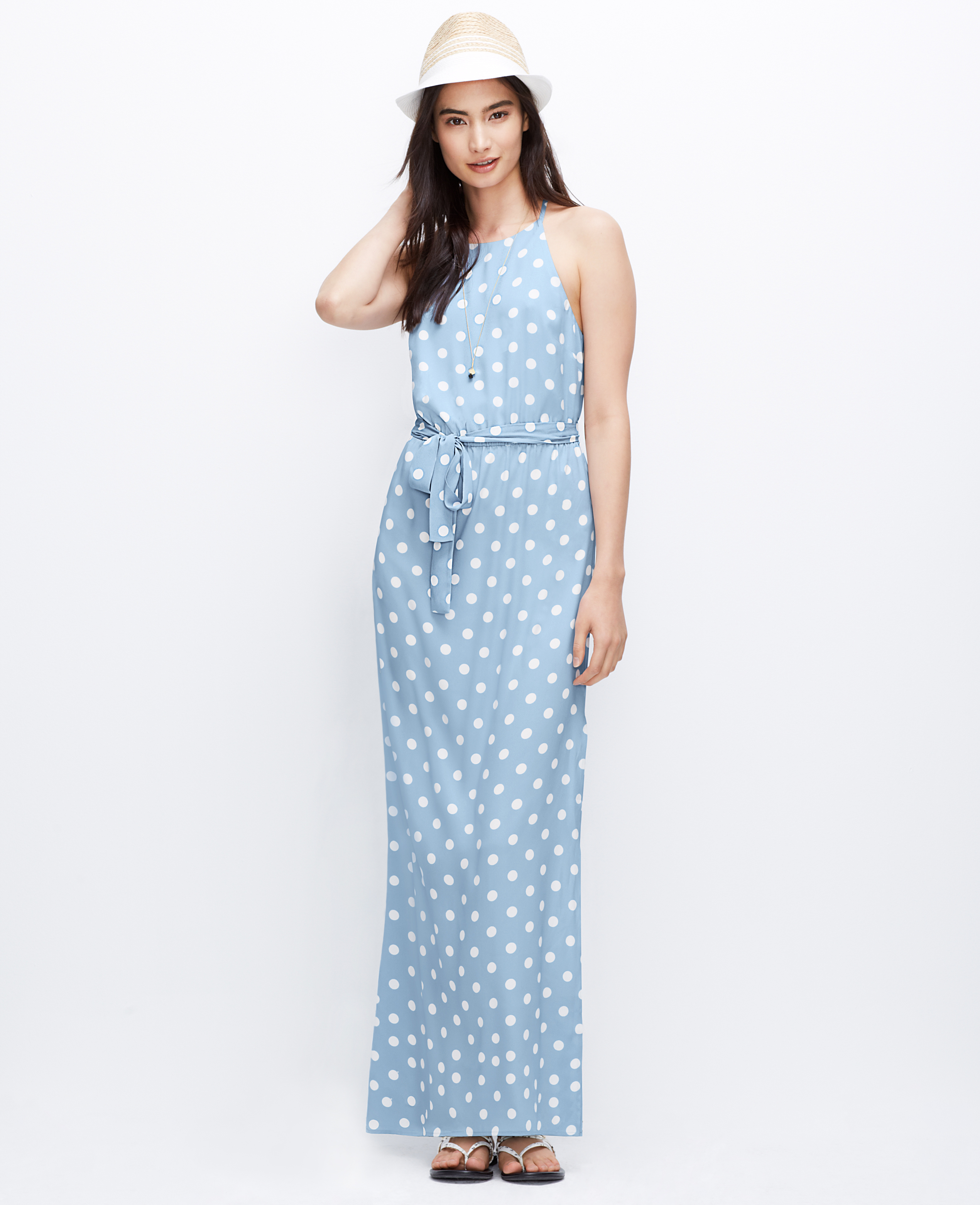 Ann taylor Polka Dot Maxi Dress in White | Lyst