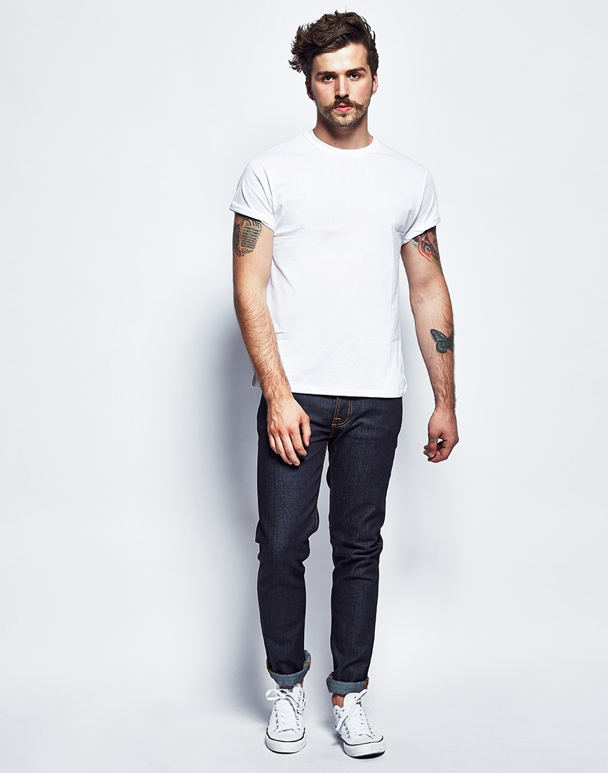 The idle man t shirt with crew neck white in white for men for Man in white shirt