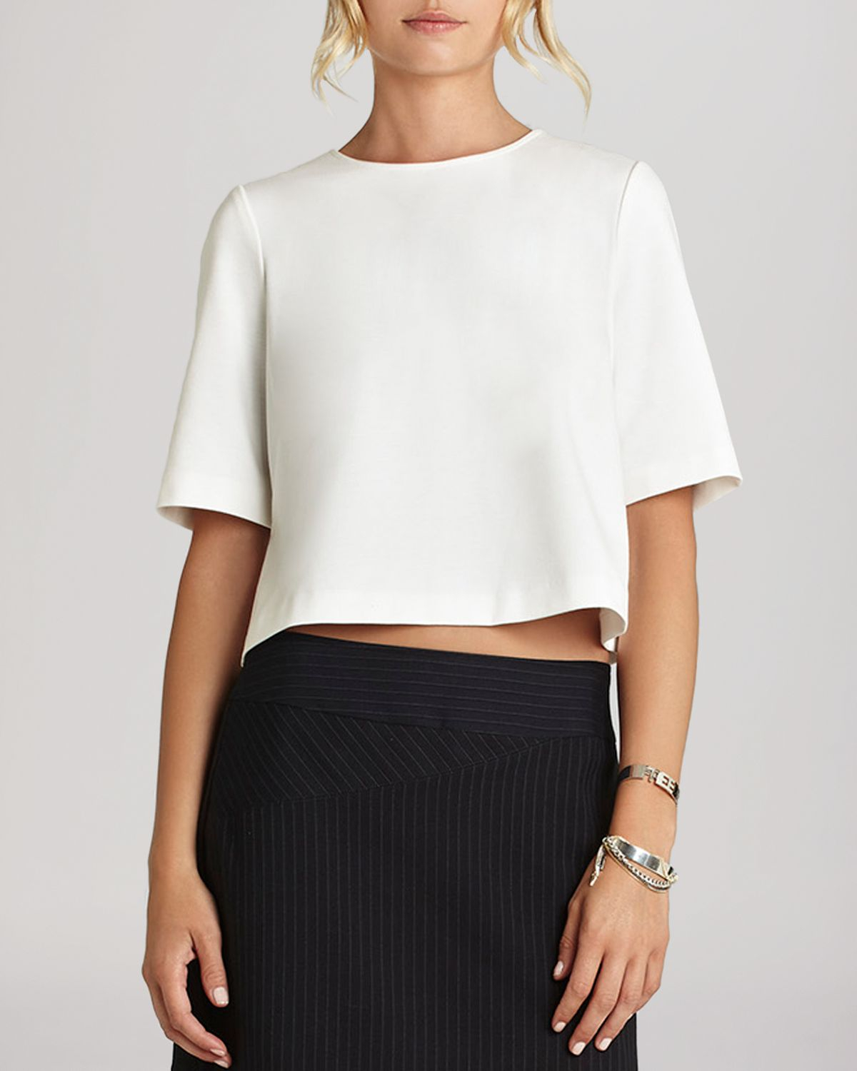 Bcbgeneration Boxy Crop Top In White