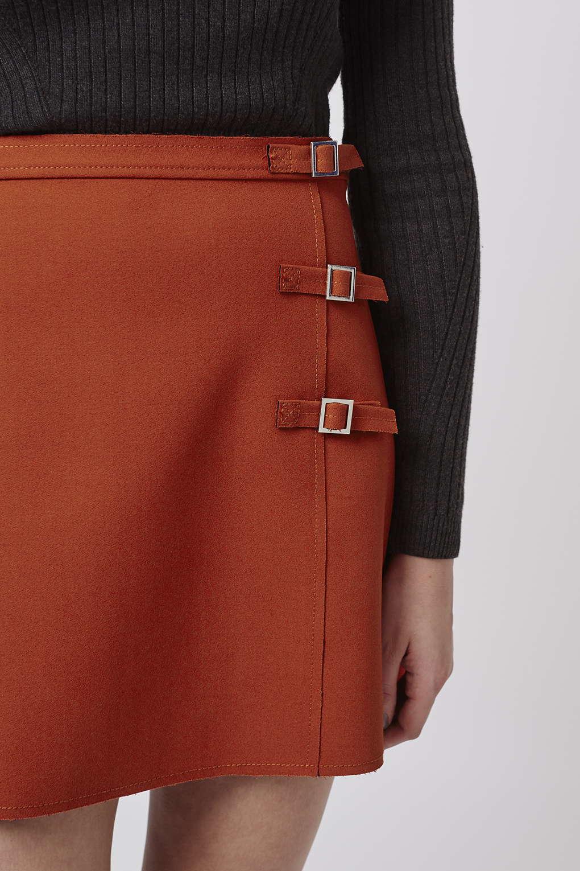 topshop edge buckle a line skirt in orange lyst