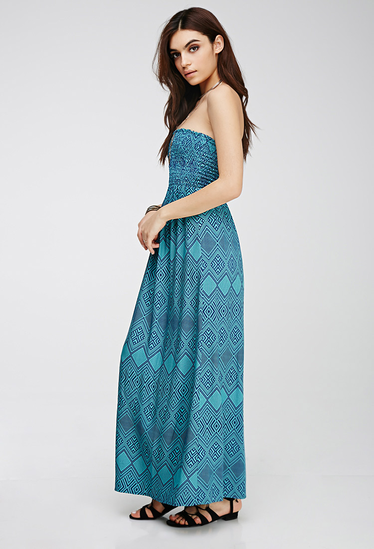 6d50ab183b6 Forever 21 Strapless Tribal Print Maxi Dress in Blue - Lyst