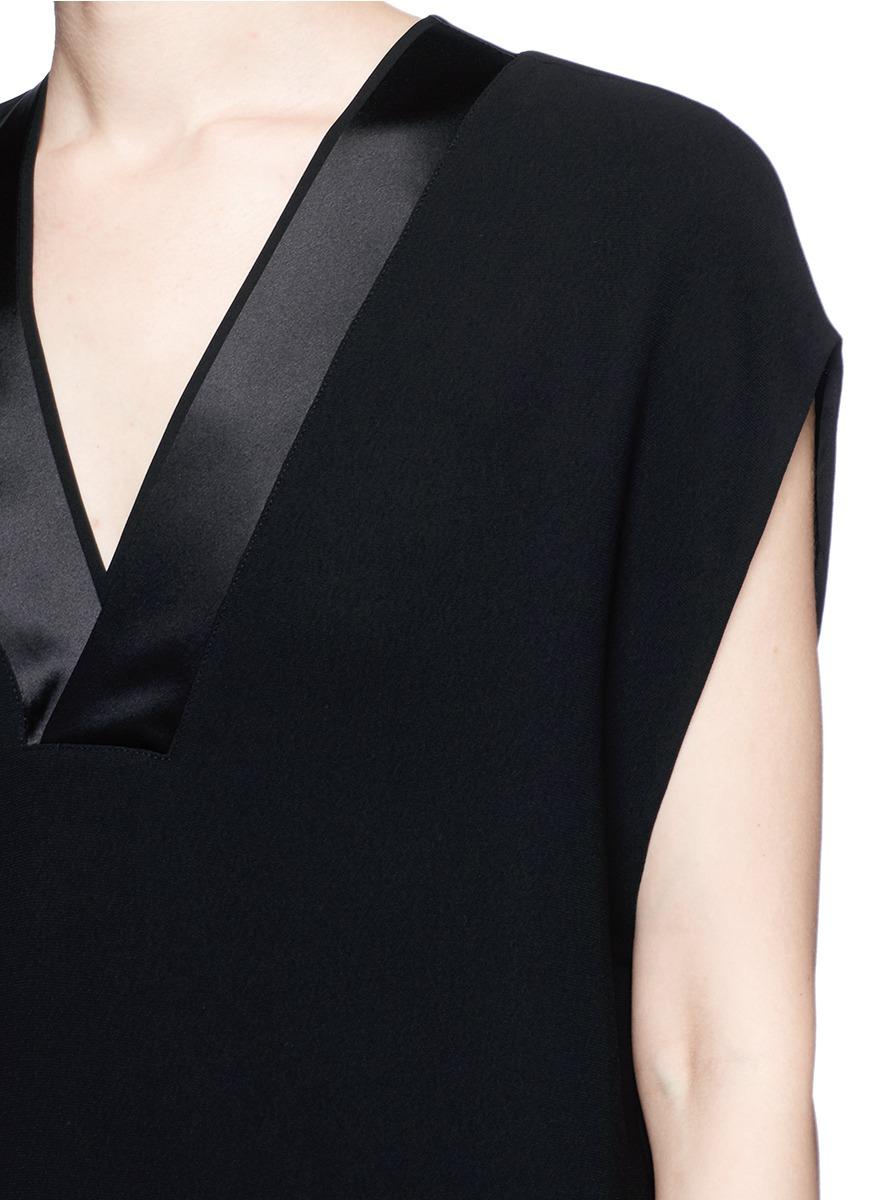 Vince Satin Trim V-neck Crêpe Dress in Black